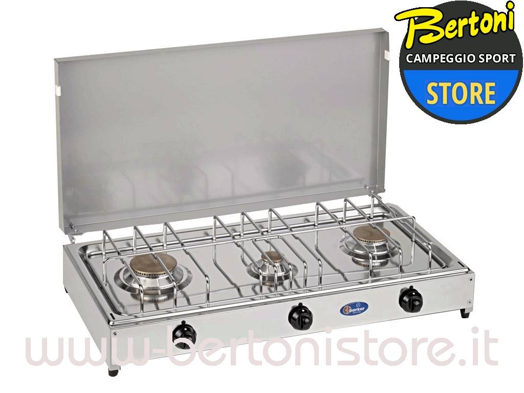 Fornello a gas 3 fuochi inox gpl 5523 parker bertoni for Fornello a gas metano 4 fuochi