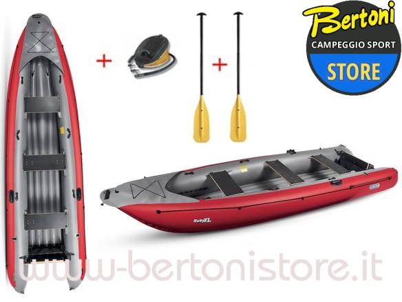 Canoa Gonfiabile Ruby XL Rossa 045199-R (5C/11C) + 1 Pompa + 2 Remi GUMOTEX