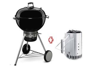 Barbecue a Carbonella Promo Kit 17851 Master-Touch GBS E-5750 Ø57 CM Black 14701004 + 17631 Ciminiera Accensione WEBER