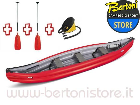 Canoa Gonfiabile Scout Standard Rossa 044667-R (5C/11C) + 1 Pompa + 2 Remi GUMOTEX