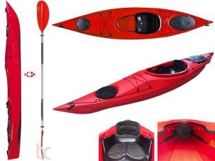 Canoa Rigida 750-3 Cighna KIT red + pagaie + seggiolino OUTRIDE Tom Caruso
