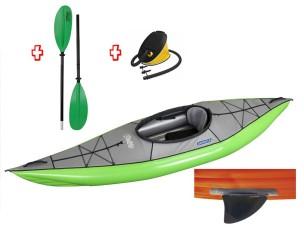 Canoa Gonfiabile Swing 1 Verde con Pinna 043910-G (1C/11C) + Pagaia Touring-2 div. in 2 parti + Pompa GUMOTEX