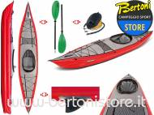 Canoa Gonfiabile Framura Rossa con Pinna 045220-R (5C/11C) + Pagaia Touring-2 div. in 2 parti + Pompa GUMOTEX