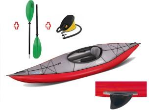 Canoa Gonfiabile Swing 1 Rosso con Pinna 043910-R (5C/11C) + Pagaia Touring-2 div. in 2 parti + Pompa GUMOTEX