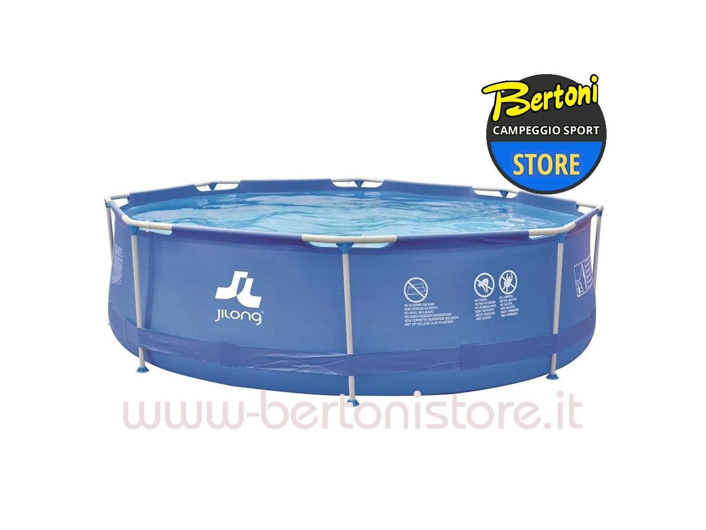 Piscina fuori terra rotonda con struttura sirocco blue set for Piscine fuori terra rotonde